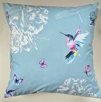 Blue Hummingbird and Butterfly Cushion Cover 16""